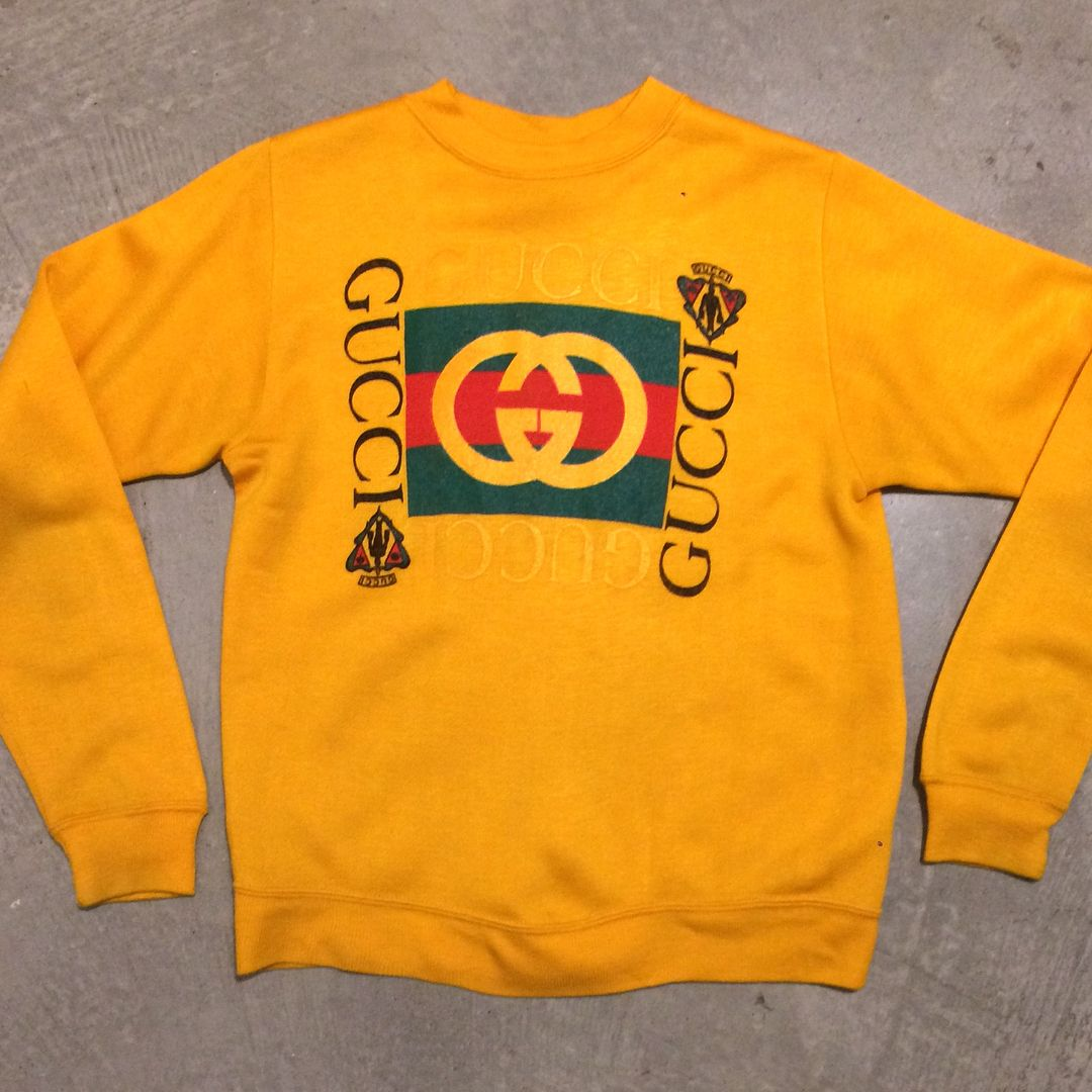 """b25cfcea6 Bootleg GUCCI Sweatshirts from left to right...Yellow XS 18""""x22 ..."""