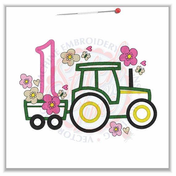 Tractor girls flower birthday shirt deer john by PrincessCustoms ...