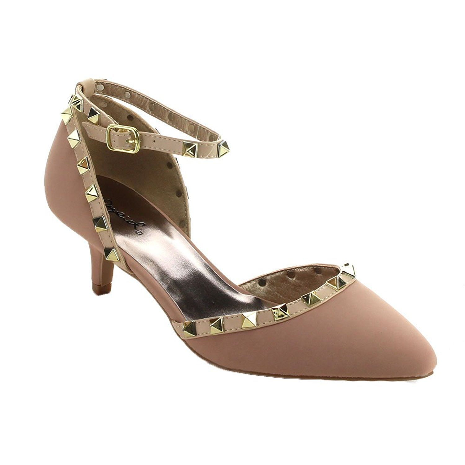 7be1cd4b841 QUPID PRANCE-12 Women s Studded Pointy Toe Kitten Heel Ankle Strap Dress  Pumps -- You can get more details here   Lace up sandals