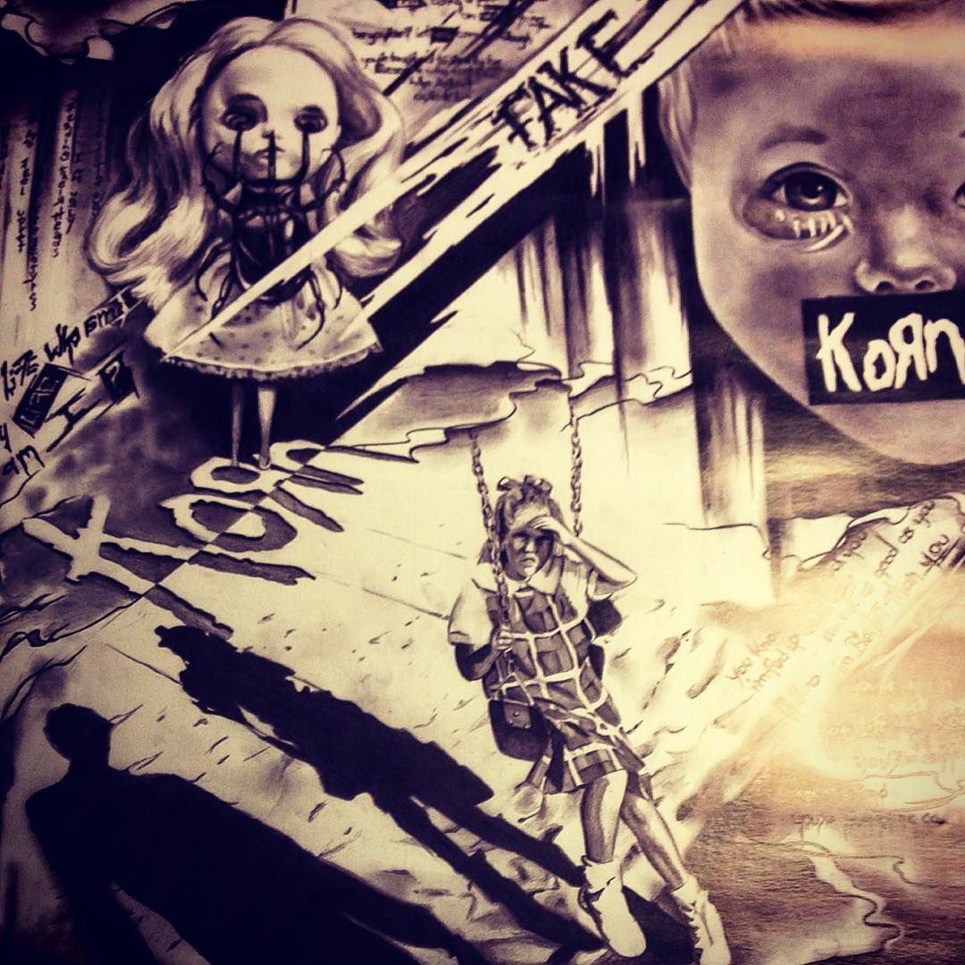 """""""Hand drawn #Korn20 fan art by Susann Sparbrod presented to the band before Tonight's 20th anniversary show in Manchester, UK. #KornTour2015"""""""