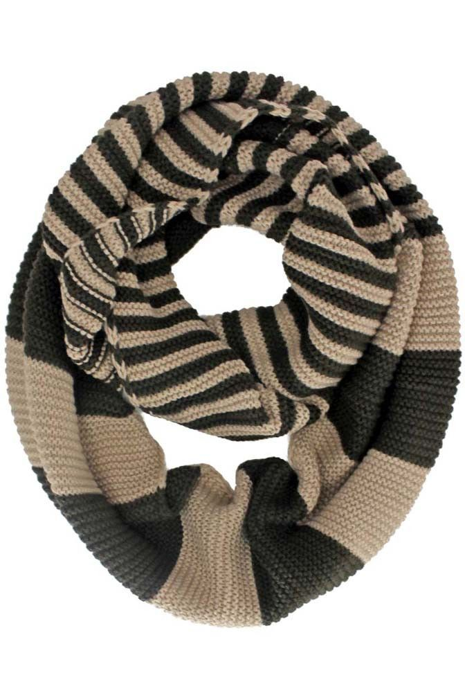 Knit Striped Infinity Scarf | Cowl, Scarf & Snood Knitting Patterns ...