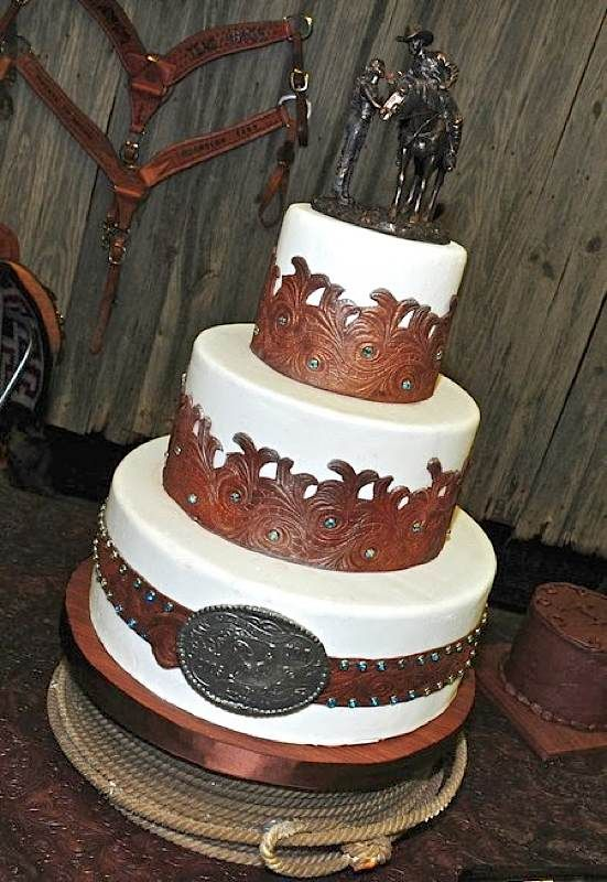Tooled Leather Western Cake Gâteaux Mariages Westerns