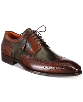 3afc44bec0 Mezlan Men s Tri-Tone Wingtip Oxfords - Brown  Olive 10.5