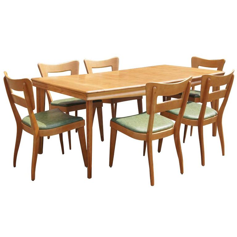 Heywood Wakefield Extension Dining Table And Six Chairs With