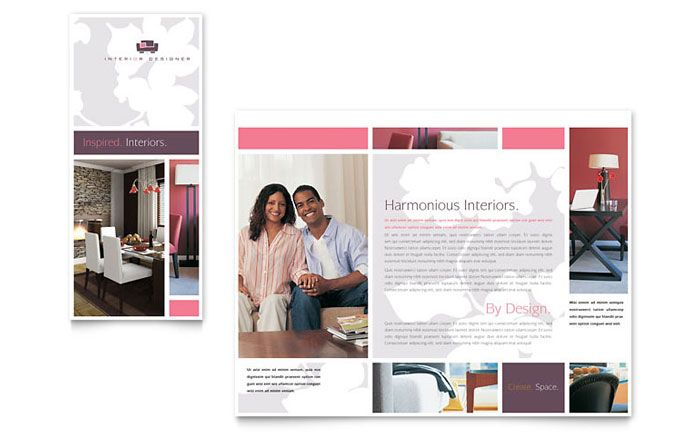 Interior Designer Tri Fold Brochure Design Template By StockLayouts