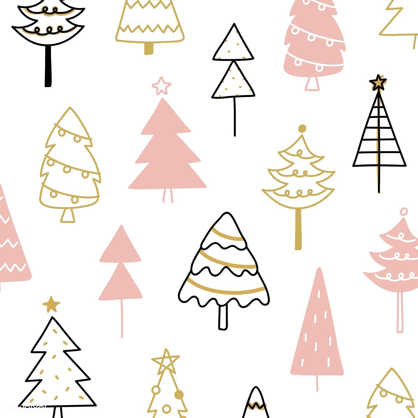 Christmas Pine Tree Pattern Background Drawing Doodle Style Free Image By Rawpixel Com Christmas Pattern Background Christmas Tree Design Tree Illustration