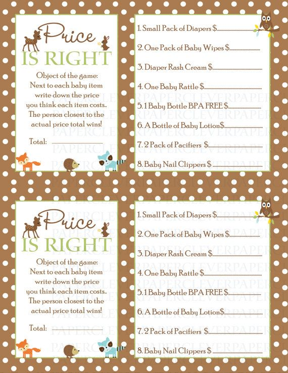 Price Is Right Game Baby Shower Woodland Animal By Paperclever