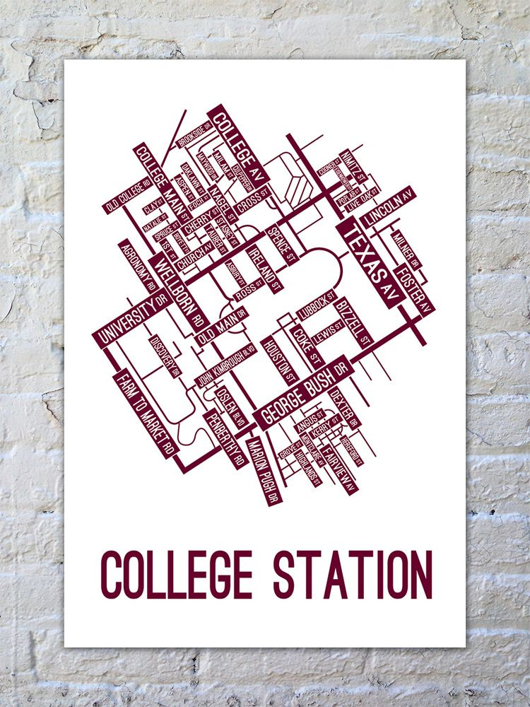 College Station Texas Street Map Poster School Street Posters - Us college map poster