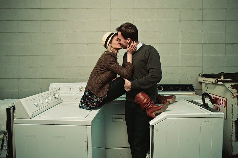 Again, Jay Eads. Laundromat/dryers for engagement shoot? Love it.