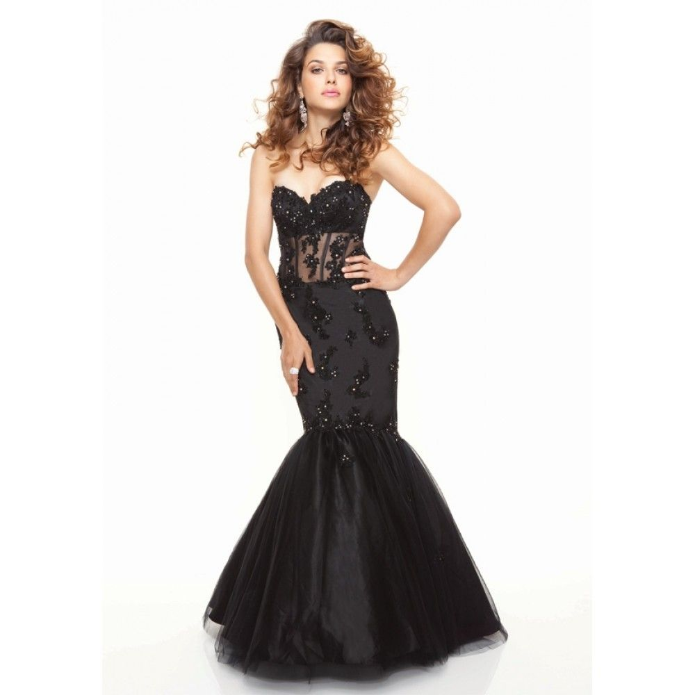 long black lace prom dresses | ... long black prom dress mermaid ...