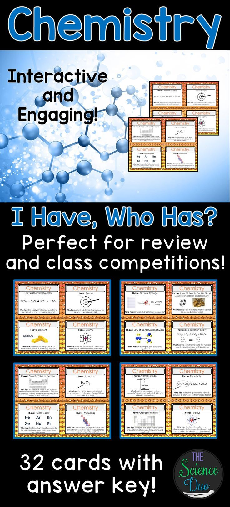 Chemistry activity i have who has chemistry periodic table challenge your students to learn the fundamentals of chemistry including atoms and the periodic table gamestrikefo Image collections