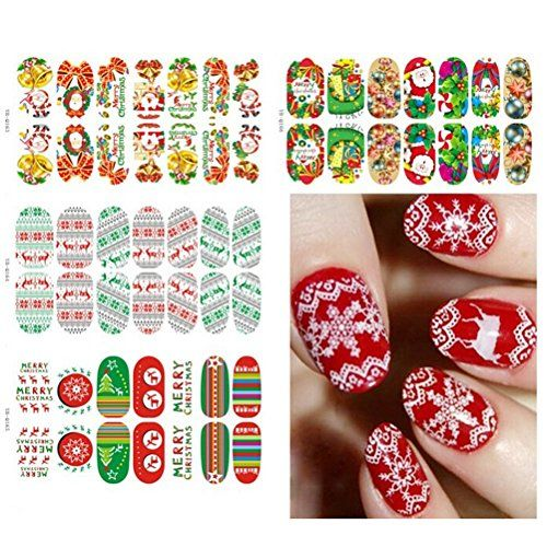Buytra 6 Sheets Christmas Nail Art Stickers 3d Design Manicure