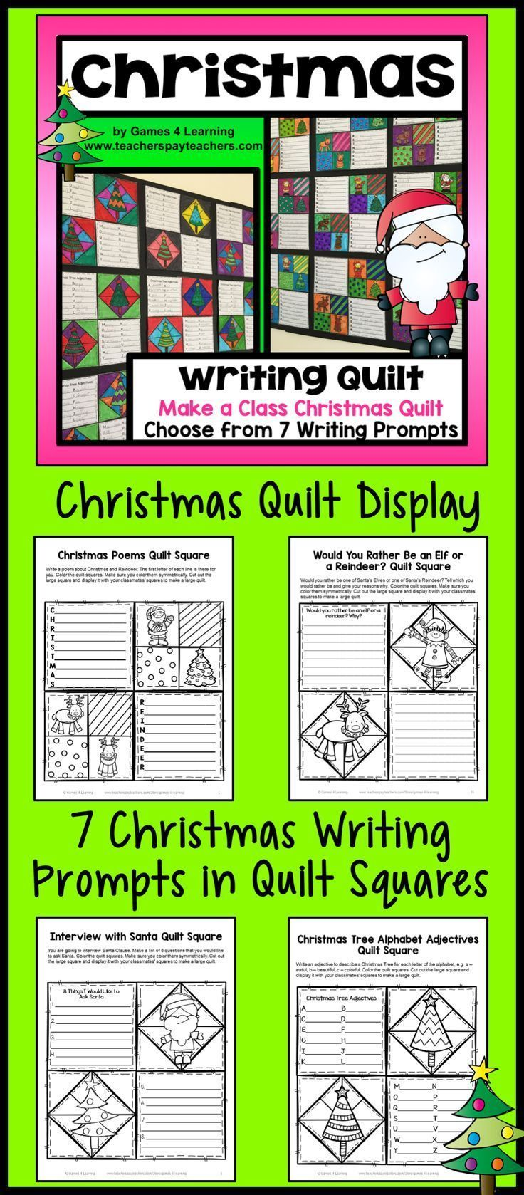 Christmas Writing Activity: Christmas Writing Prompts Quilt ...