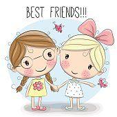 Dos chicas de dibujos animados lindo