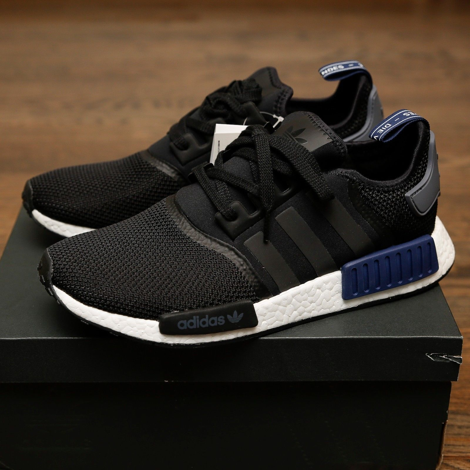 2a432966d Adidas NMD R1 Black Navy Grey Euro 100% Authentic JD primeknit S76841
