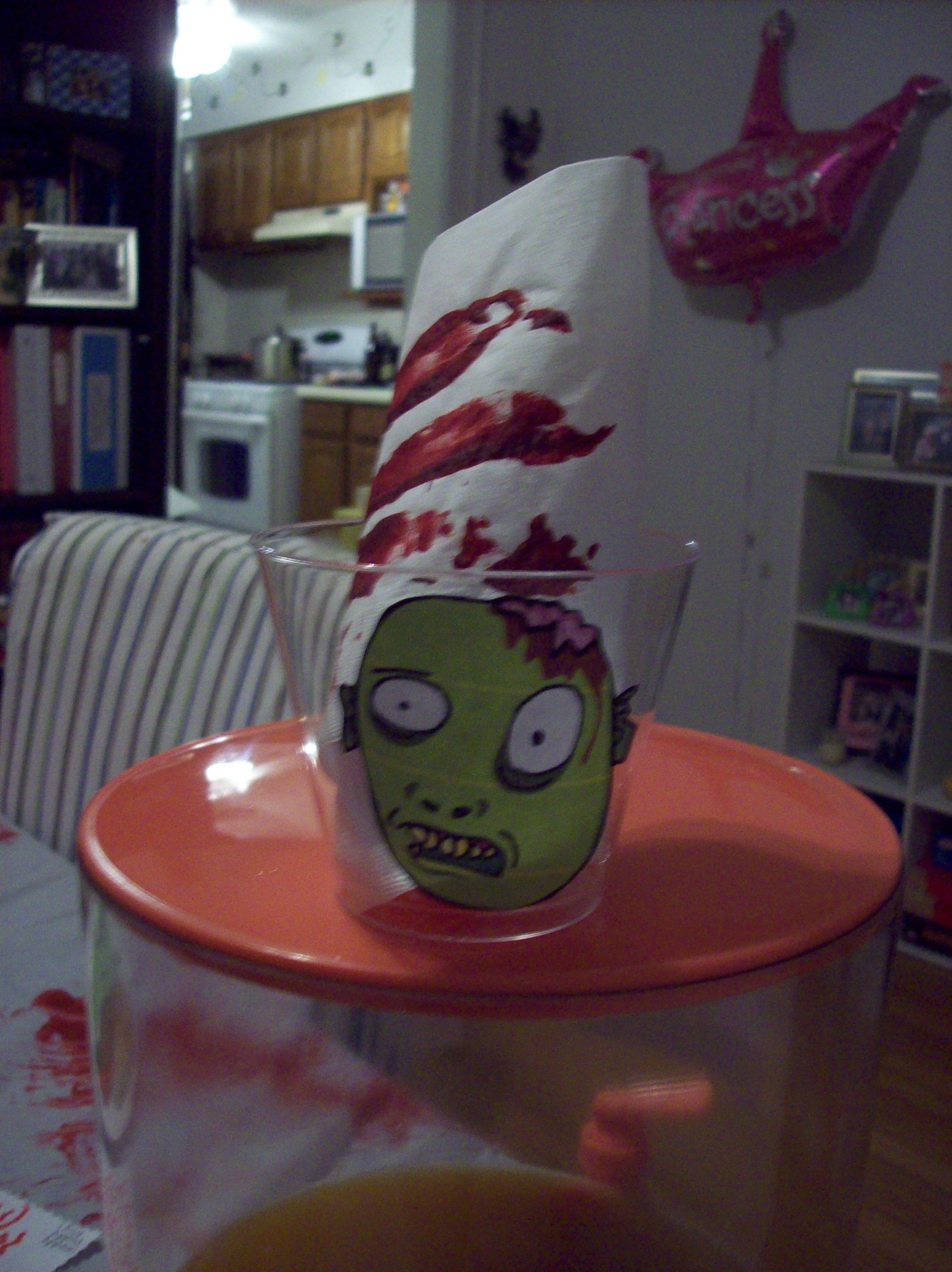 cups for my zombie brain stew bar with bloody napkins and red