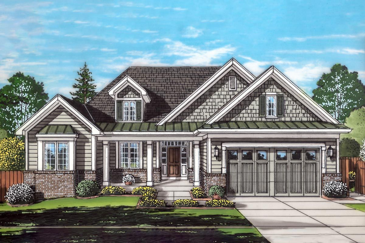 A Charming Brick And Siding Exterior And A Covered Front Porch Introduces This 3 Bedroom One Level House Plans Ranch Style House Plans Traditional House Plans