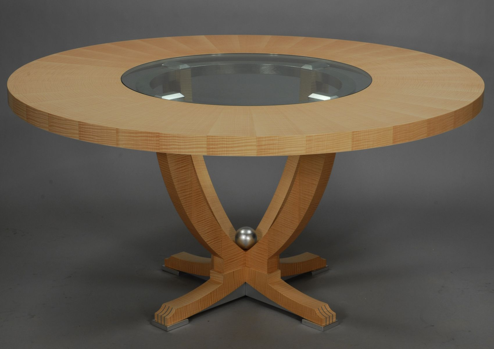 Urn Dining Table with Center Glass Insert | Table, Dining ...