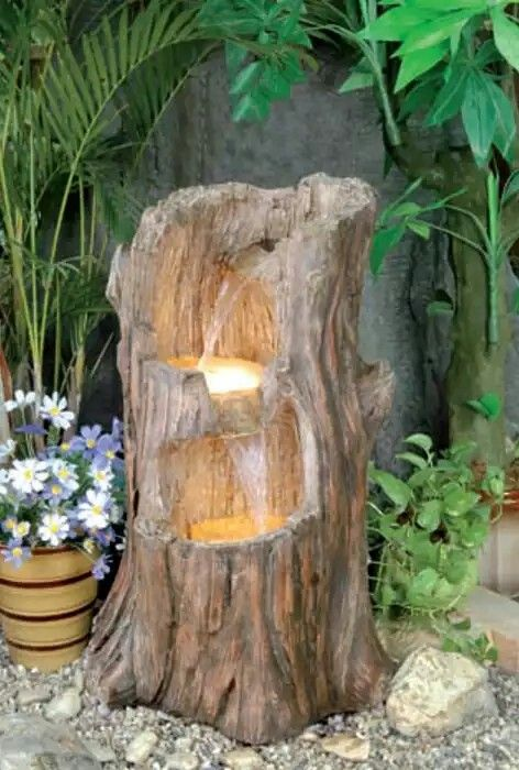 Diy Tiered Log With Solar Lights Tree Stump Water