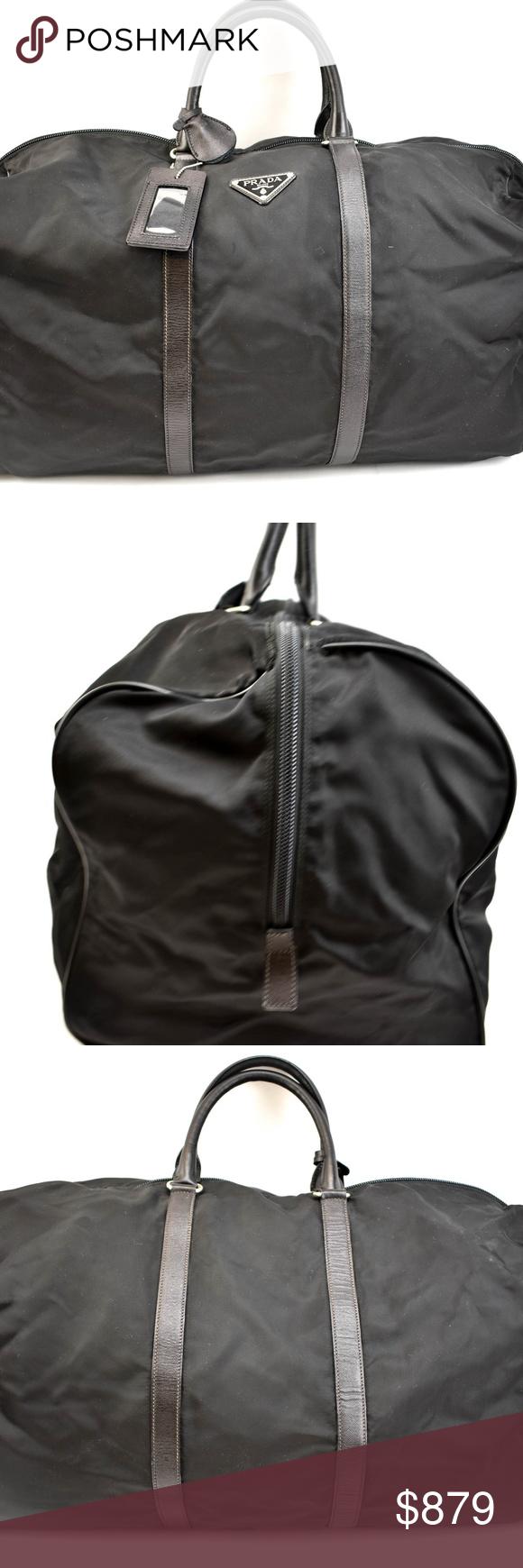 32896c1e1f41 PRADA Black Nylon Leather   Logo Weekender Bag nw pre-owned (zoom photos
