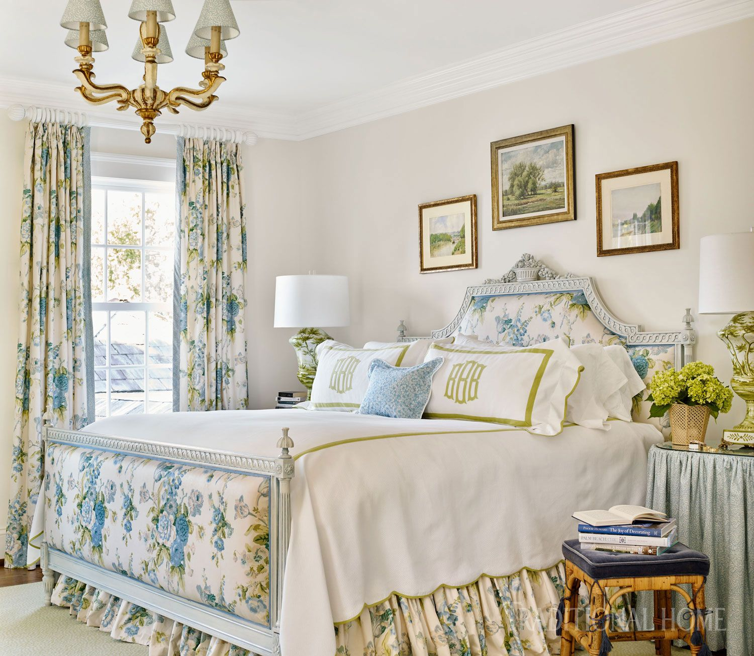 Nashville Home With Pretty Color And Pattern Master Bedroom