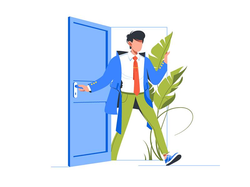 Man Come Back Home After Work Day By Kit8 On Dribbble Man Illustration Creative Poster Design Flat Design Illustration