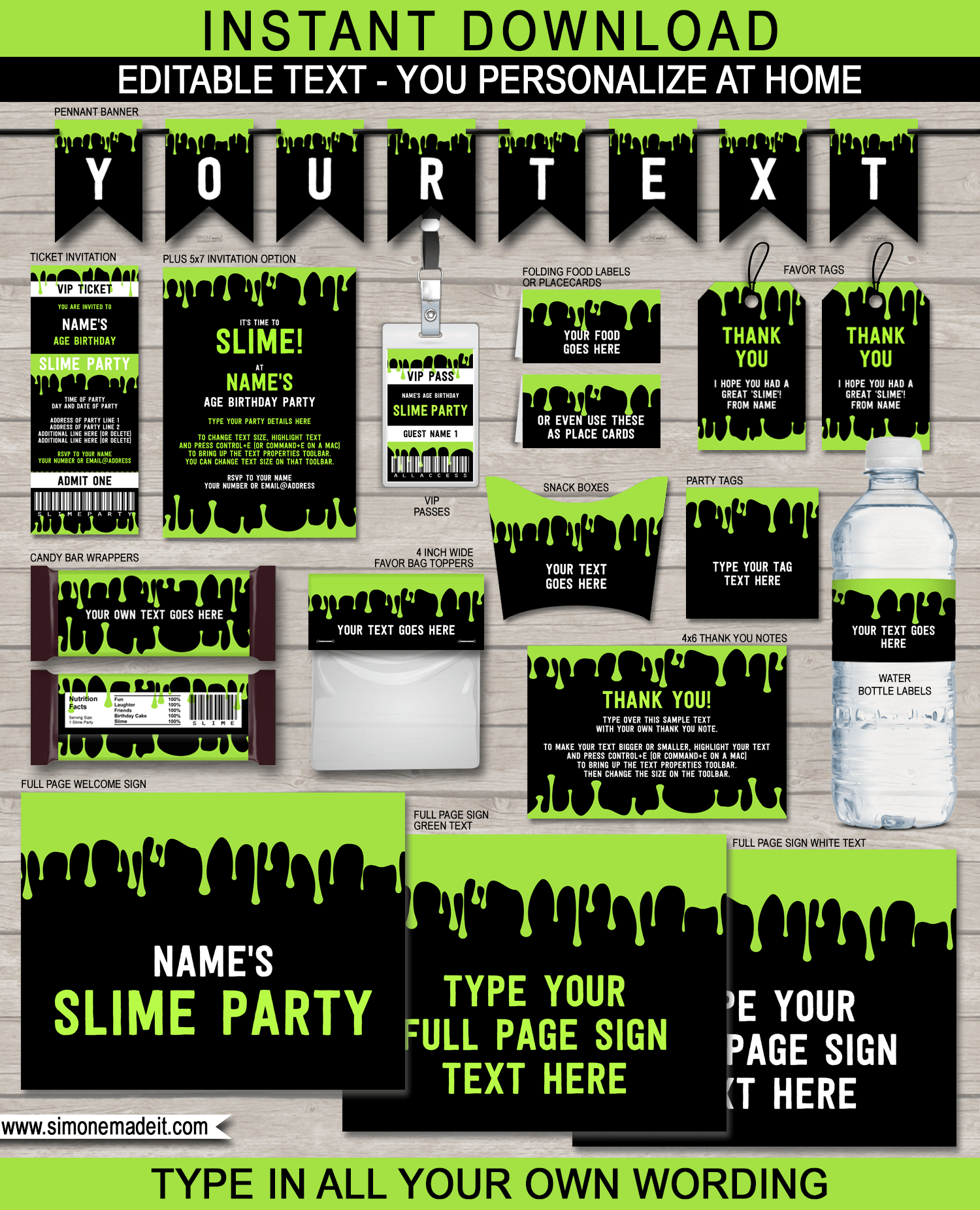 Slime Party Printables, Invitations & Decorations – green | Kai 8th