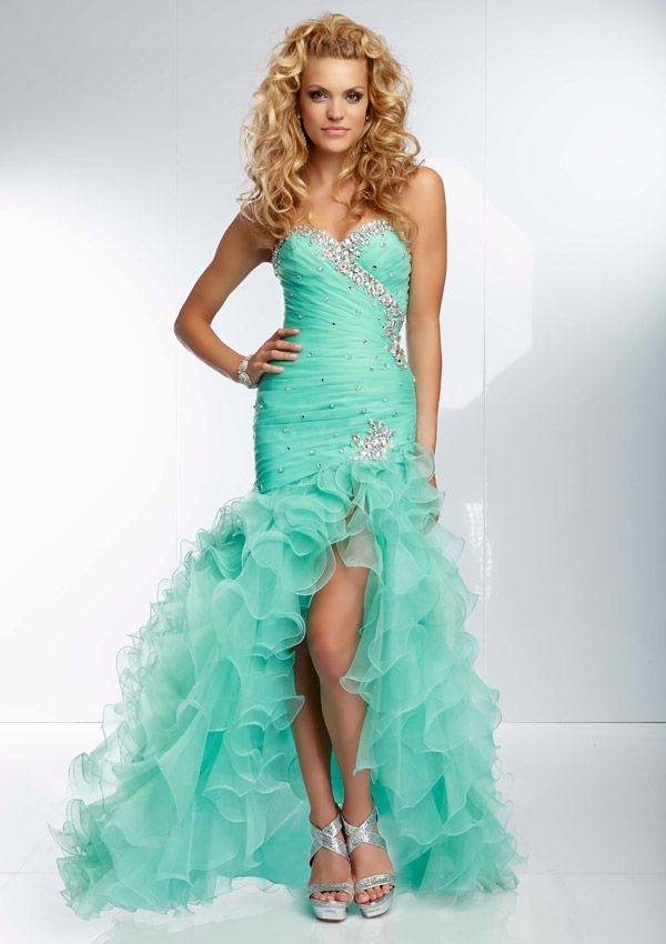 2014 Sweetheart High-Low Beading Mint Organza Prom Dress Party ...