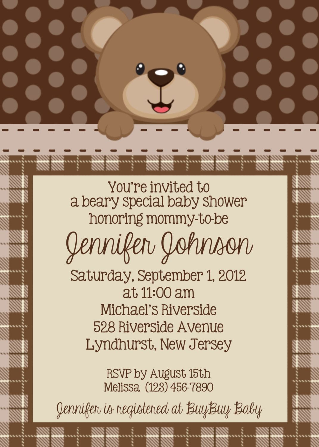 Teddy Bear Invitation - Personalized Custom Teddy Bear Baby Shower ...