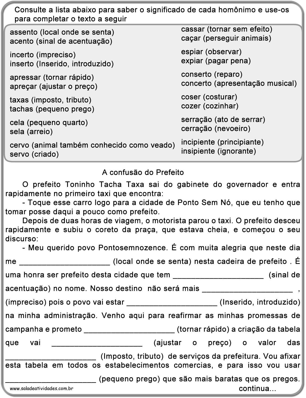 Atividades De Sinonimos Antonimos E Homonimos Para Imprimir