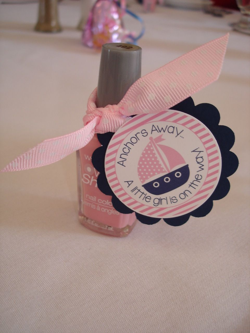 Tickled Pink nail polish party favor Nail polish party