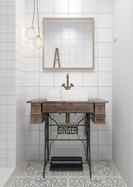 25 Cool And Creative Sink Stands For Any Bathroom Digsdigs Industrial Bathroom Decor Vintage Bathroom Sinks Industrial Bathroom Vanity