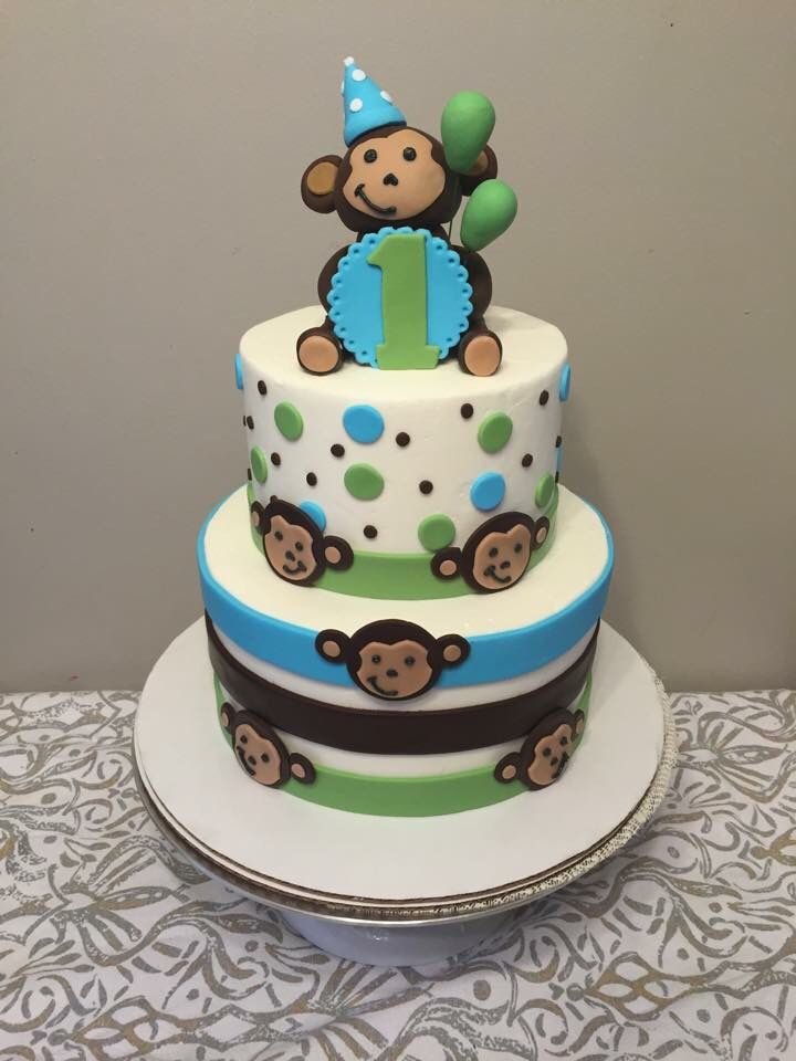 Monkey Cake First Birthday Cake creations by tiana Pinterest