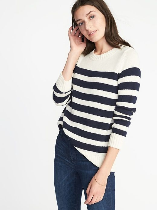 Striped Crew-Neck Sweater for Women