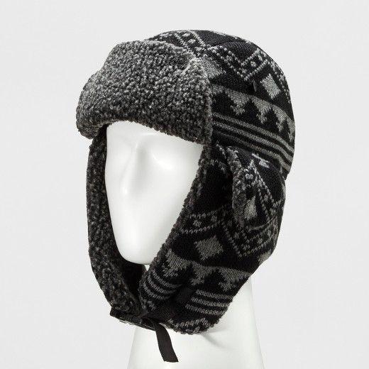 Mens Knit Pattern Trapper Hat Goodfellow Co Blackgray One