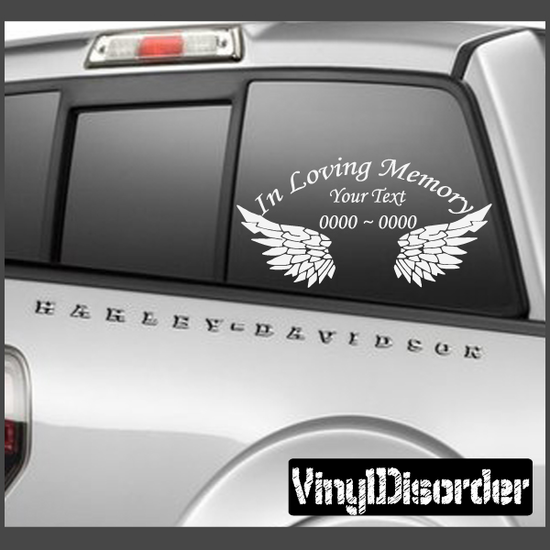 Wings In Loving Memory Custom Car Or Wall Vinyl Decal Stickers - Car window vinyl decals custom