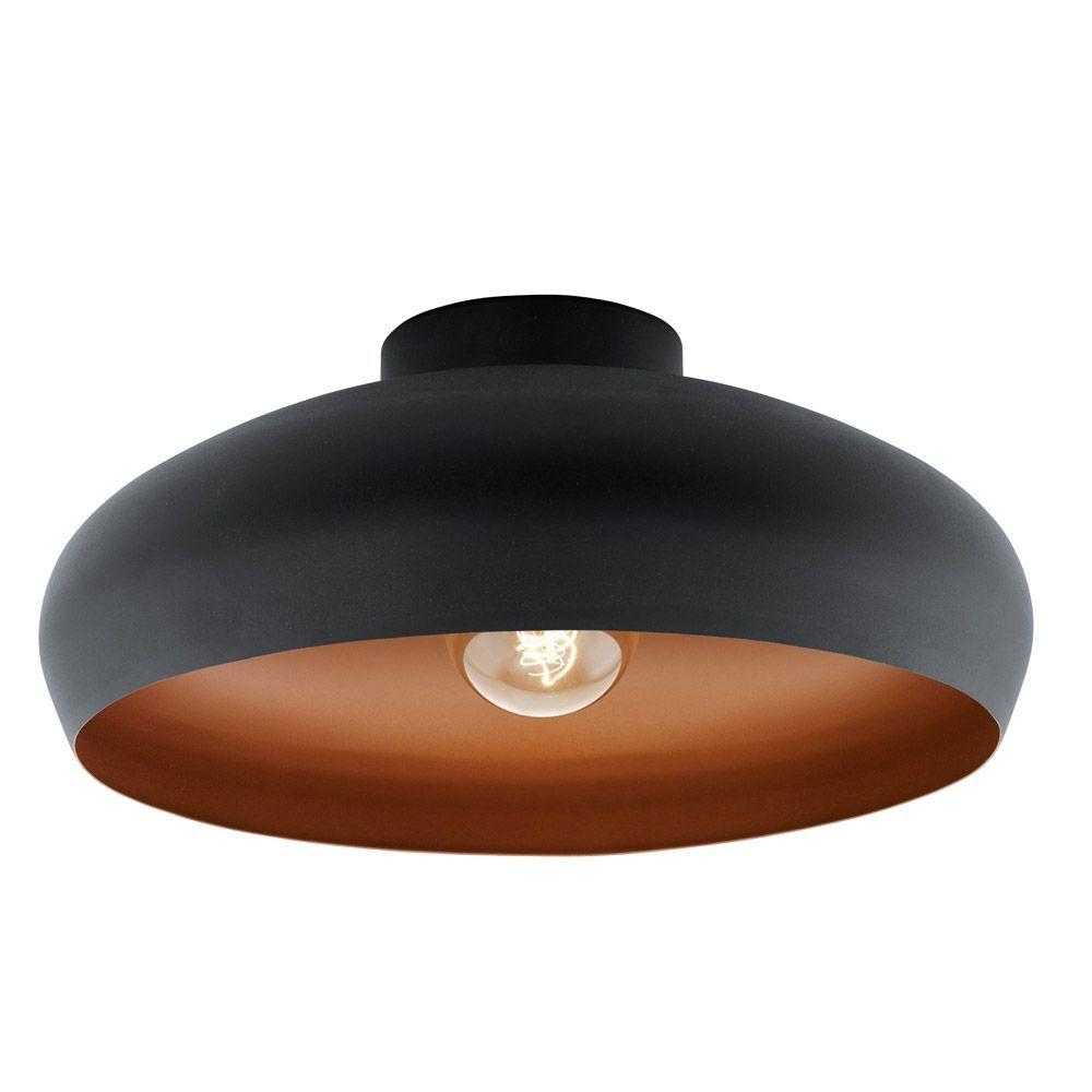 Eglo 94547 Black And Copper Mogano Ceiling Light Dusk Lights Flush Ceiling Lights Flush Lighting Vintage Flush Ceiling Light