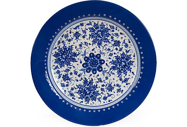 Large blue and white decorative plate hand-painted in an eight-step process  sc 1 st  Pinterest & Large blue and white decorative plate hand-painted in an eight-step ...
