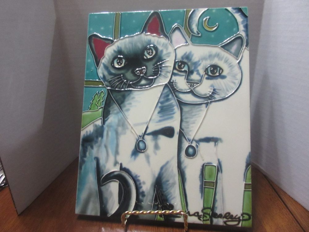Nights White Satin Cats Wall Hanging Glazed Birch Wood