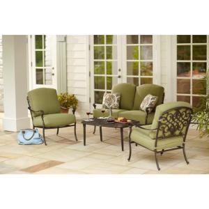 $749   Hampton Bay Edington 4 Piece Patio Deep Seating Set With Celery  Cushions
