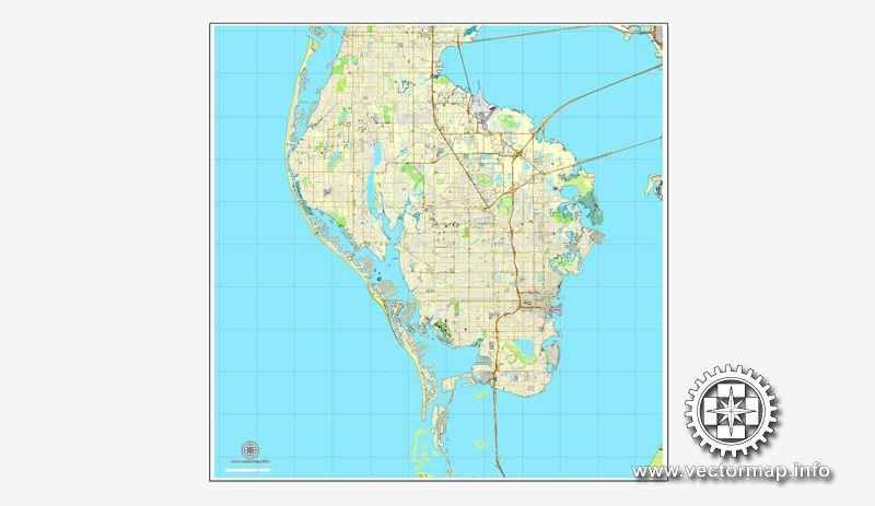 St Petersburg Florida US printable vector street City Plan map V