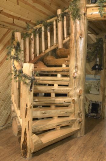 I really love the log cabin look and i love spiral stair - Escaleras rusticas ...