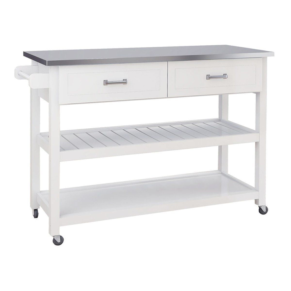 Brodnax Kitchen Cart With Stainless Steel Top In 2021 Kitchen Cart Rolling Kitchen Cart Cabinet Styles