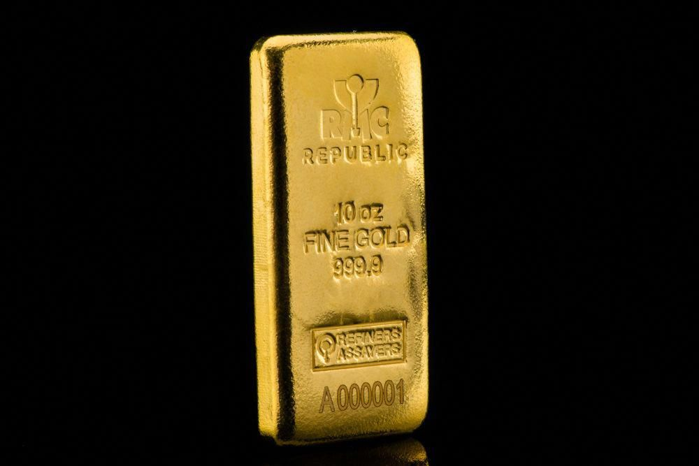 10oz Cast Gold Bar Goldinvesting Gold Bullion Bars Gold Investments Gold Bullion