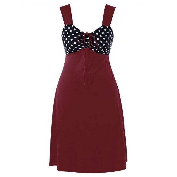 42d53fc453b Plus Size Polka Dot Sleeveless Pin Up Dress - Red 5xl Pin Up Dresses