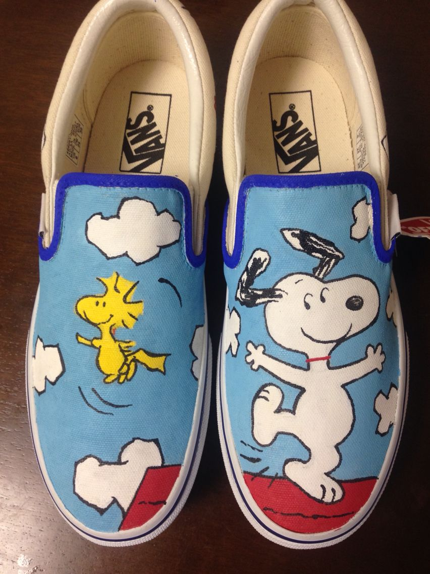 090ba7cf06c42 Hand painted snoopy vans | Method Monkey Custom Shoes and ...
