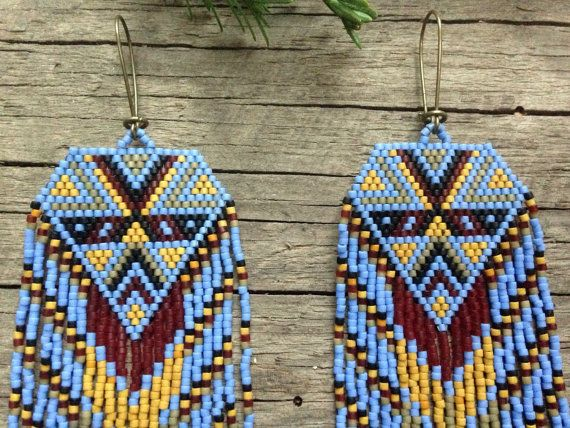 Sina...Fractal seed bead earrings sacred by DancingWillowDesign