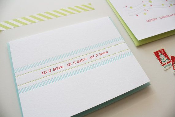 Letterpress Holiday Cards  Let it Snow  Set of 10 by Honizukle, $25.00