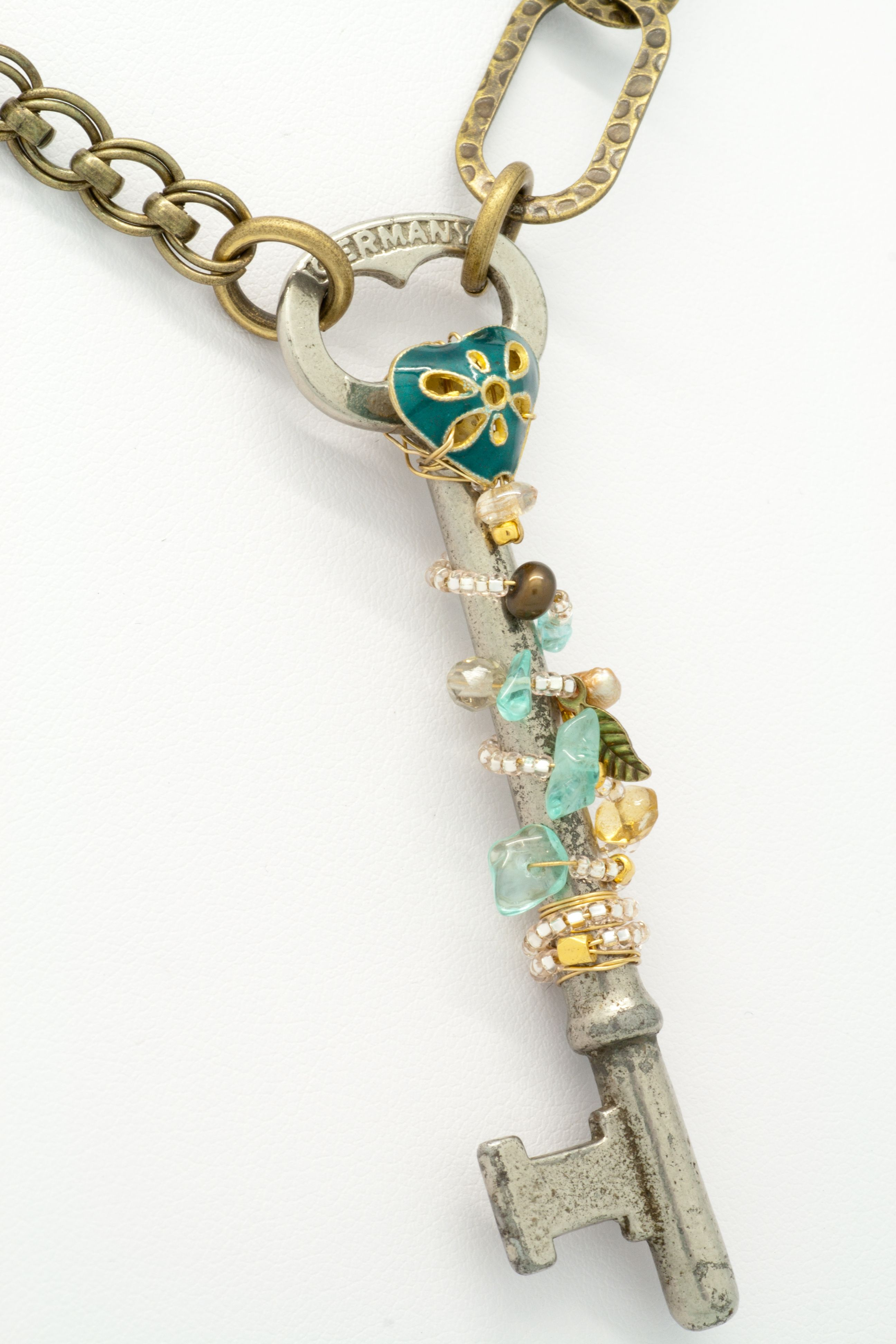 antique German key, wire-wrapped with amazonite, crystals, Japanese ...