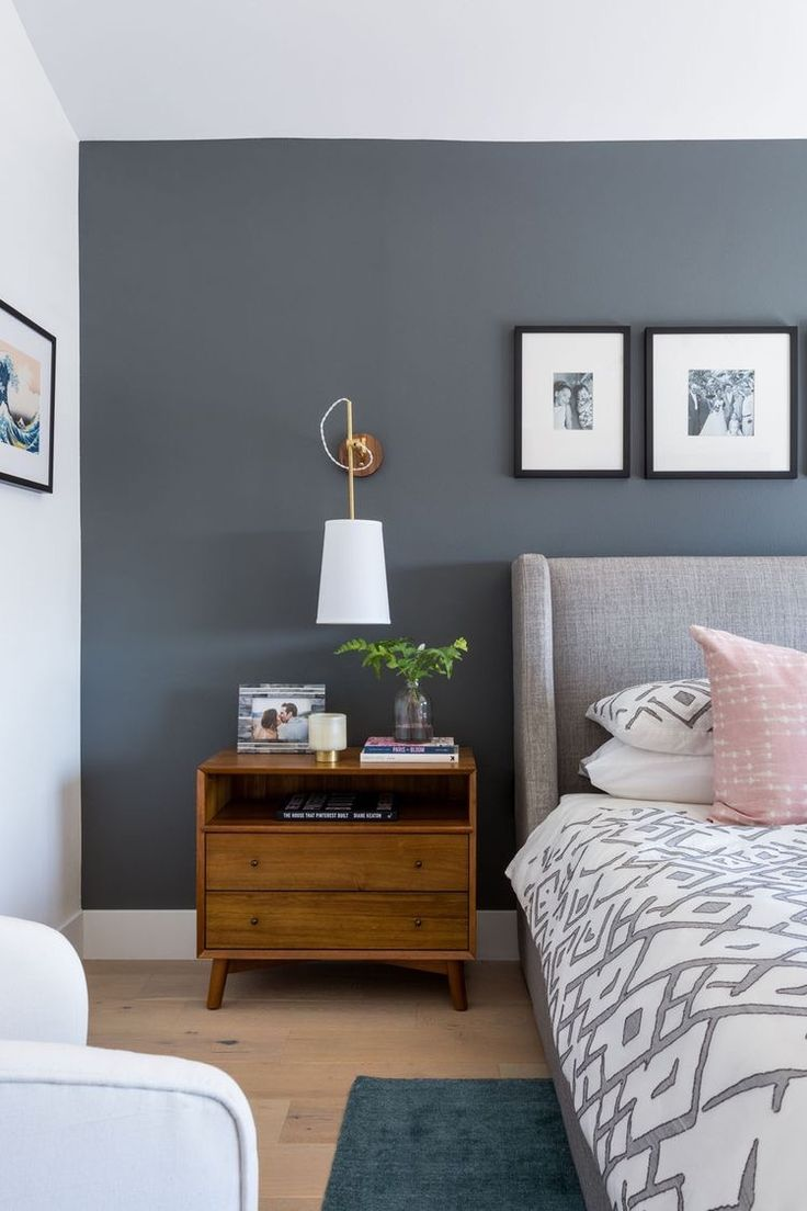 Ideen für das Schlafzimmer Graue Wände Kleine Farbakzente
